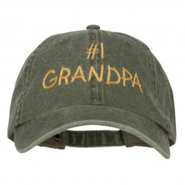 Number 1 Grandpa Embroidered Big Size Washed Cap