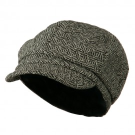 Zig Zag Tweed Newsboy Cap - Black White