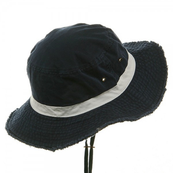 9afda6d3da8 Outdoor - Navy White Washed Frayed Bucket Hats