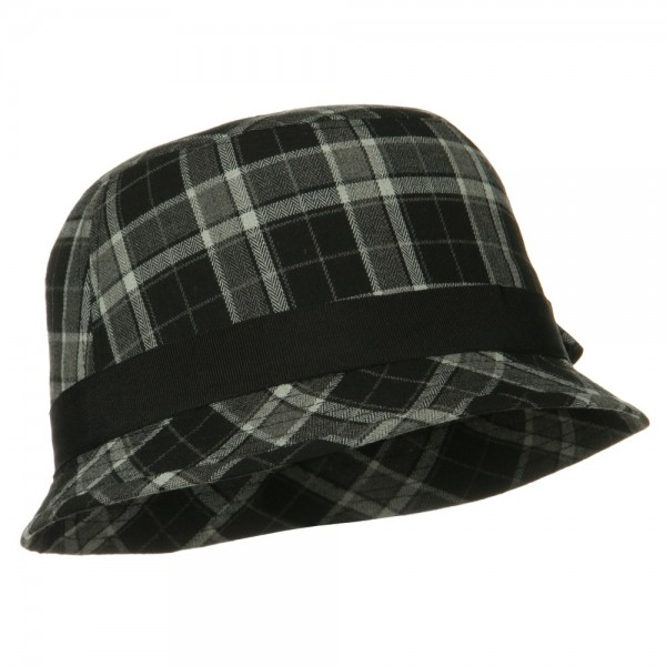 373c7b92e22 ... Plaid Wool Felt Cloche Hat with Bow Tie - Black ...