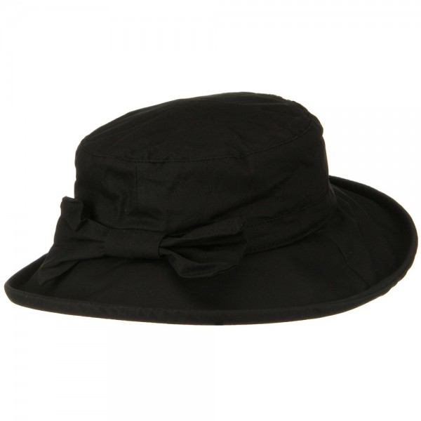 Dressy Black Waxed Cotton Wide Brim Bucket Hat Coupon