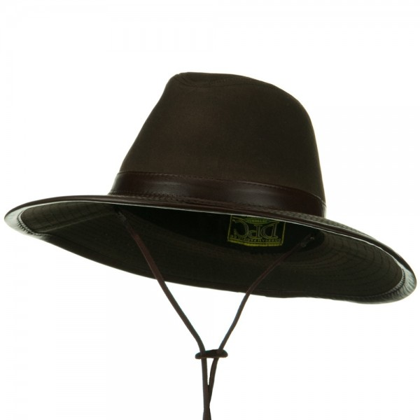 Outdoor Brown Leather Upf 50 Safari Hat With Leather