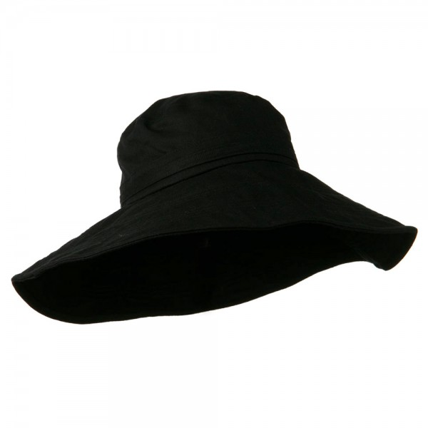 Bucket - Black Big Size Ladies Linen Wide Brim Hat  d5e71513b39