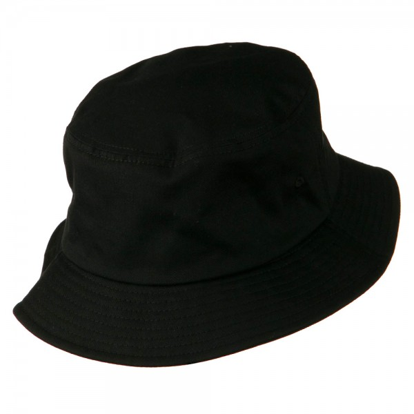 ... Big Size Cotton Blend Twill Bucket Hat - Black ... 0ee4d5e269a