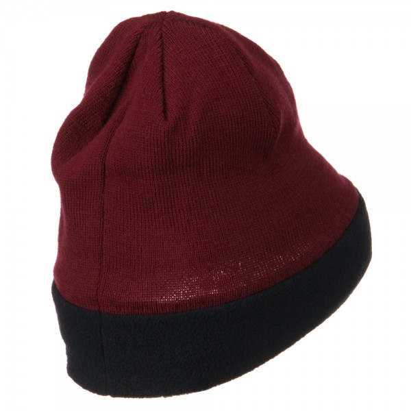 cd5a066bb8c ... Fleece Brim Winter Knitted Beanie - Burgundy Navy ...