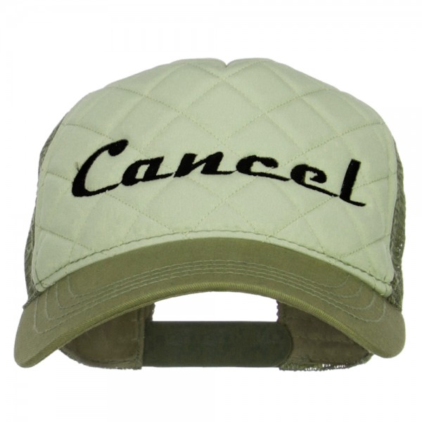 Embroidered Cap - Putty Olive Cancel Embroidered Trucker Cap ... 9b0a9c127a2