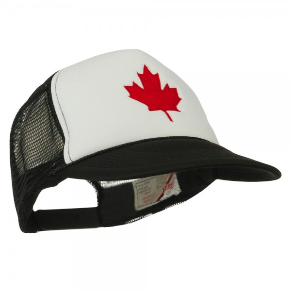 f1a3cc899 Canada's Maple Leaf Embroidered Foam Front Mesh Back Cap - Black White