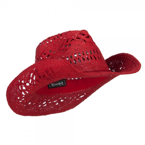 western red solid color straw cowboy hat e4hats