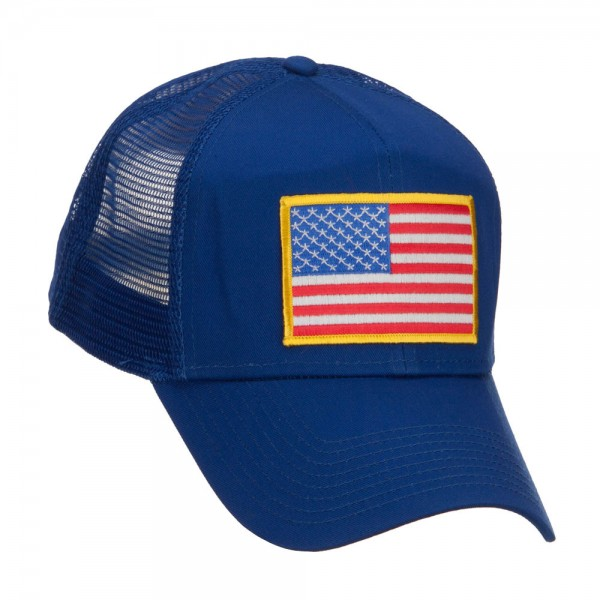af465b6c3d4 Embroidered Cap - Royal Gold American Flag Patched Cap    e4Hats