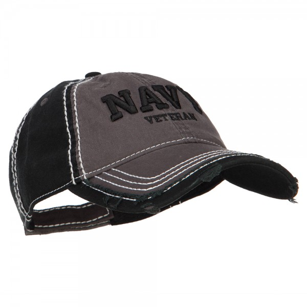 3D Navy Veteran Embroidered Vintage Frayed Cap