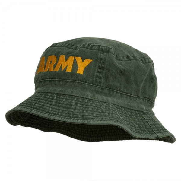 25461d5177b ... US Army Embroidered Pigment Dyed Bucket Hat - Green ...