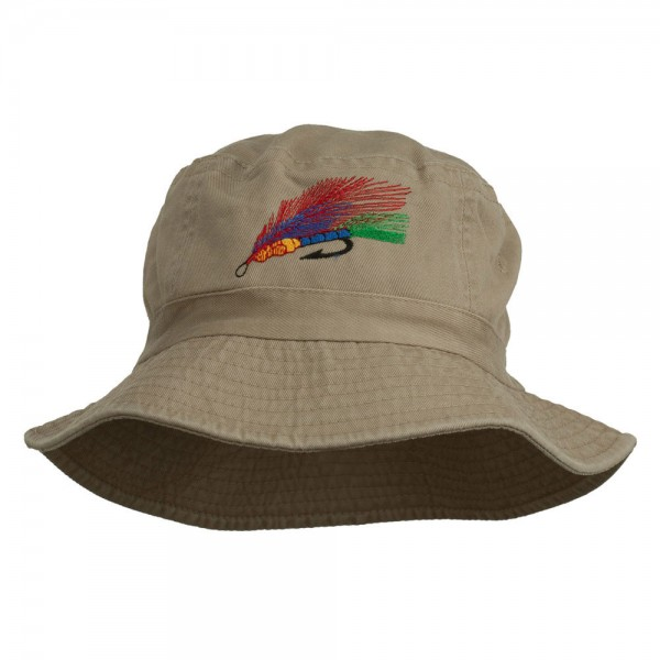 fcb26469209 Bucket - Khaki Fishing Embroidered Bucket Hat    e4Hats