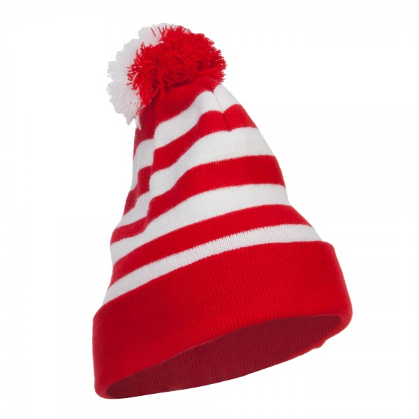 ... Striped Pom Pom Cuff Long Beanie - Red White ... 796f9fe003f