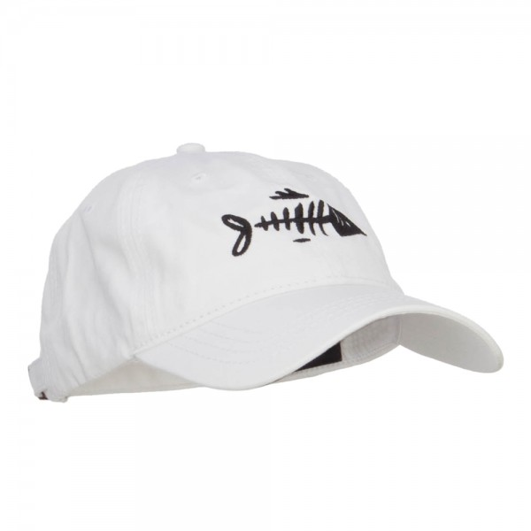 Embroidered cap white fish bone embroidered washed cap for Captain d s country style fish