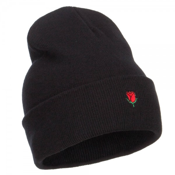 e1323d2c Beanie - Black Mini Rose Embroidered Long Beanie | Coupon Free ...