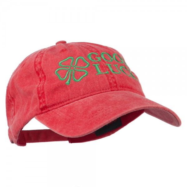 Four Leaf Clover Good Luck Embroidered Washed Cap