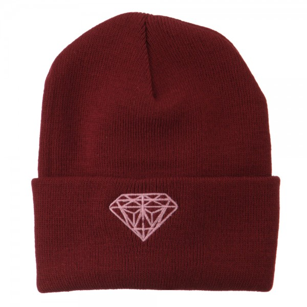 4ad34f96 ... Light Pink Diamond Embroidered Long Cuff Beanie - Maroon. Maroon (View  1) ...