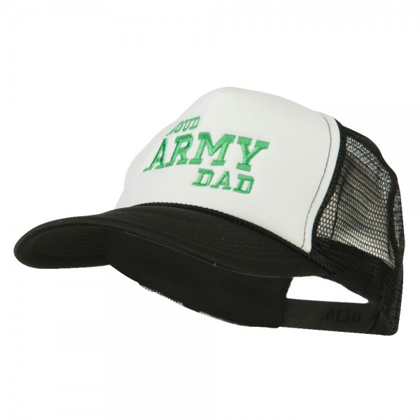 Embroidered Cap - Black White Proud Army Dad Embroidered Cap    e4Hats 48d67ee12ef