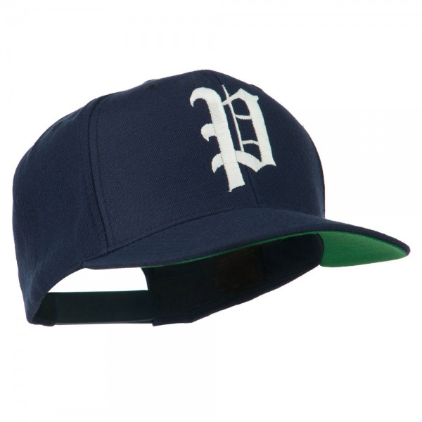Old English P Embroidered Flat Bill Cap - Navy