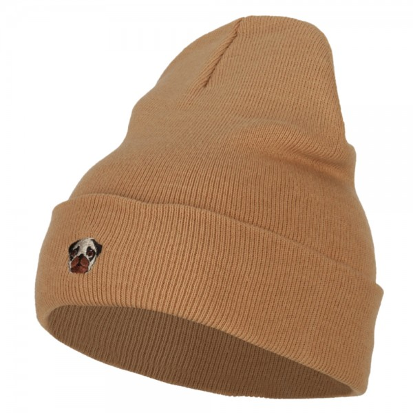 Long Beanie - Khaki Pug Dog Head Embroidery Beanie    e4Hats becca443a2d