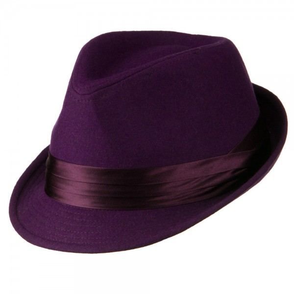 d43ae86ae Fedora with Pleated Satin Band - Purple