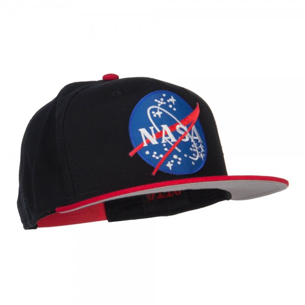 Embroidered Cap - Red Black NASA Patched Two Tone Snapback  2f01ce17a1c