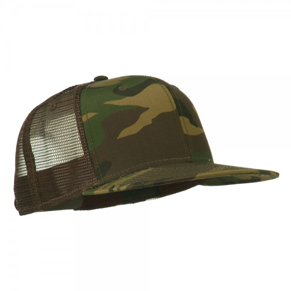 a455c887268 ... Camouflage Cotton Flat Bill Trucker Cap - Camo Brown ...