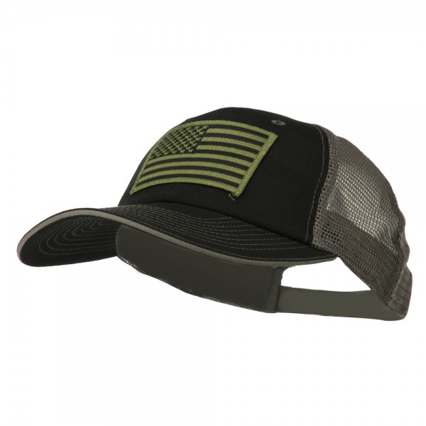 ... Subdued American Flag Patched Big Size Washed Mesh Cap - Black Grey ... b8930189754
