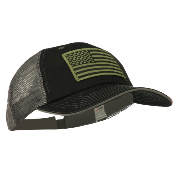 ... Subdued American Flag Patched Big Size Washed Mesh Cap - Black Grey ... 57d444d80f7