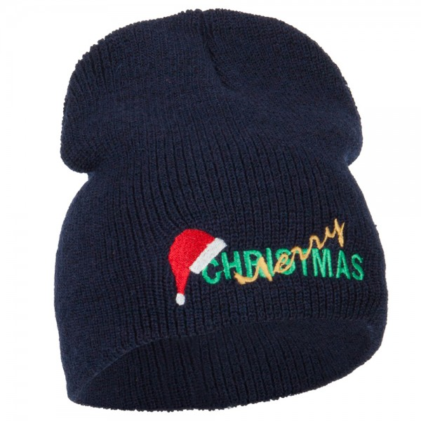 1710011d0 Merry Christmas with Santa Hat Embroidered Wool XL Beanie - Navy
