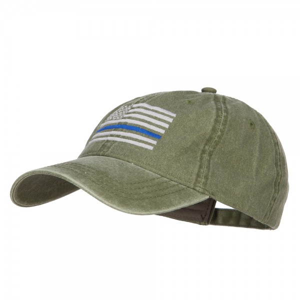 ... Thin Blue Line Silver USA Flag Embroidered Washed Cap - Olive Green ... a982e3f0132