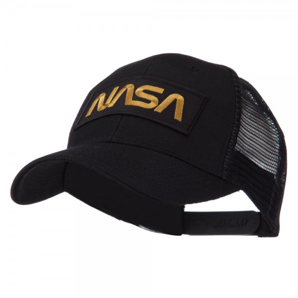 Nasa e4Hats.com Text Law and Forces Embroidered Patched Mesh Cap One Size