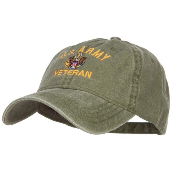 7eb262374fb ... US Army Veteran Military Embroidered Washed Cap - Olive ...