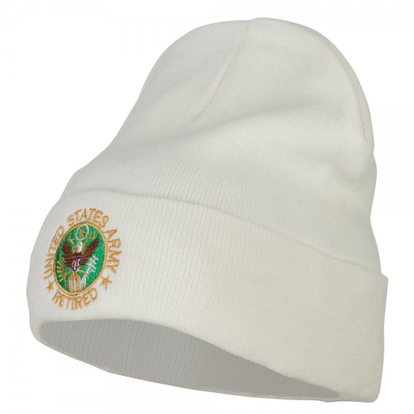 8e244780cde ... US Army Retired Circle Embroidered Big Size Long Beanie - White. White  (View 1) ...