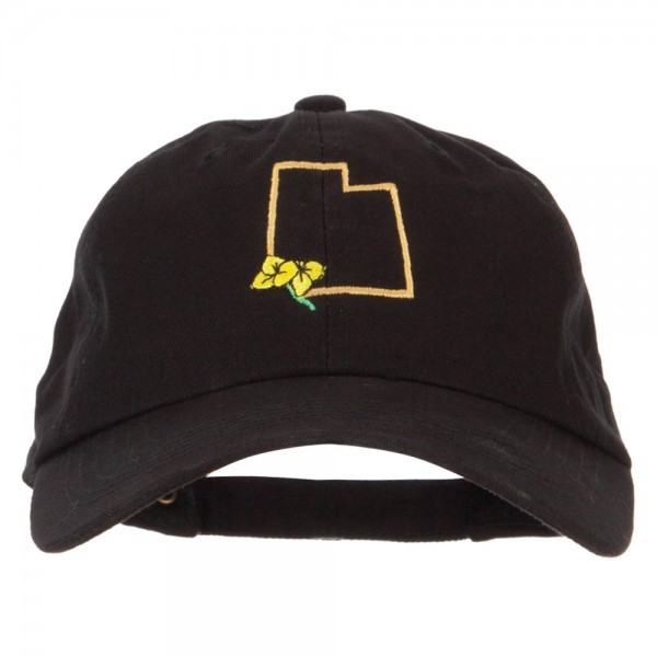 5e88224858e Embroidered Cap - Black Utah Sego Lily Map Embroidered Cap