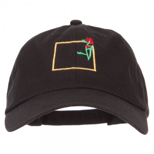 Wyoming Indian Paintbrush with Map Embroidered Unstructured Washed Cap -  Black