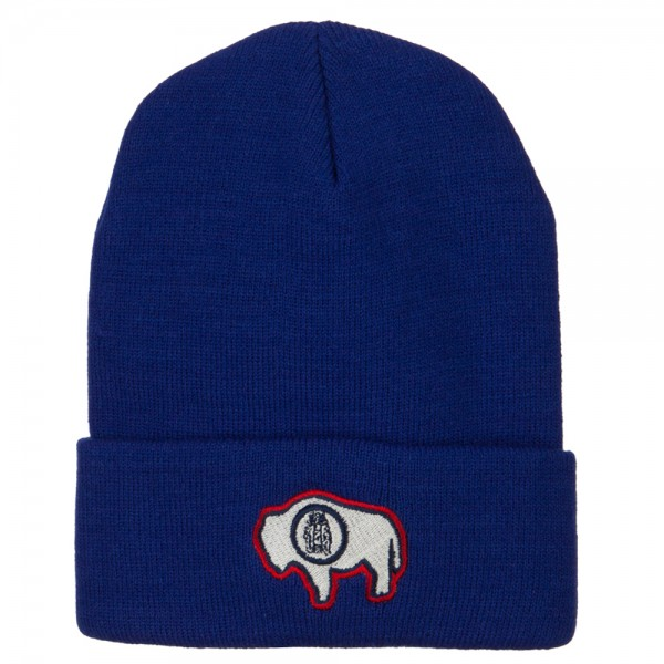 Wyoming State Flag Embroidered Long Beanie - Royal