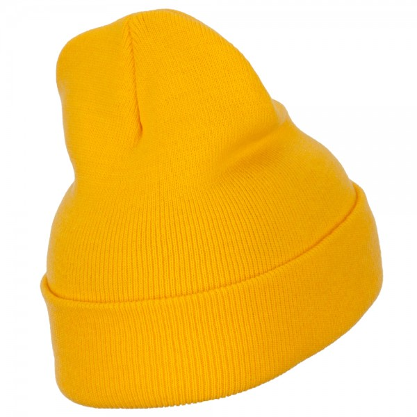Wyoming State Flag Embroidered Long Beanie - Yellow