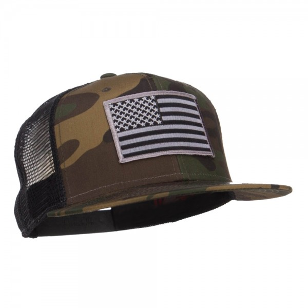 e197c13a Embroidered Cap - Camo Black Grey American Flag Patched Camo Mesh ...