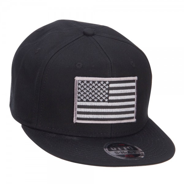 ... Grey American Flag Patched Flat Snapback Cap - Black ... e94893e7446