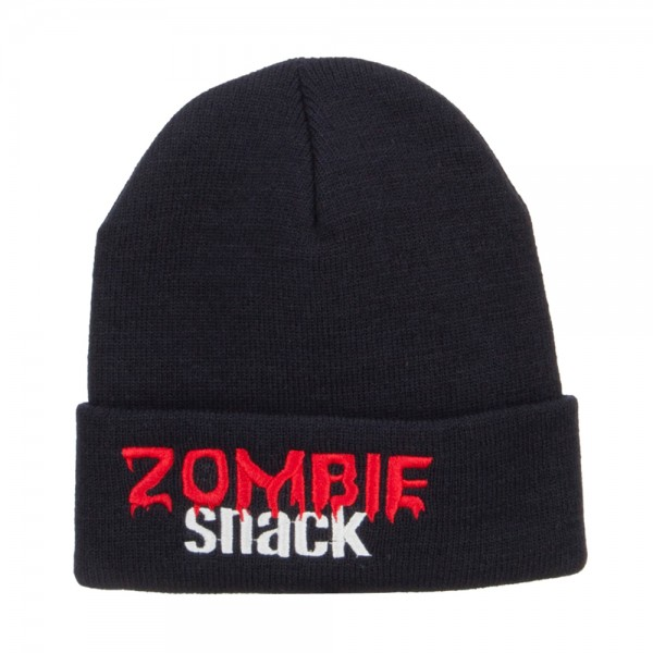 8988f2a138d ... Halloween Zombie Snack Embroidered Long Beanie - Navy ...