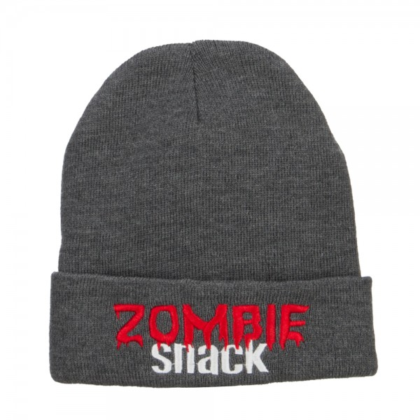cbe2b74fc1a ... Halloween Zombie Snack Embroidered Long Beanie - Dk Grey ...